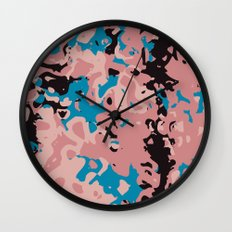Pink and blue swirl abstract Wall Clock