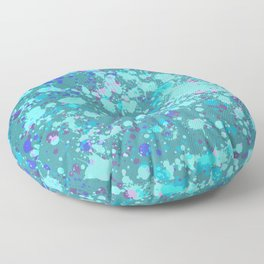 Teal Splatter Floor Pillow