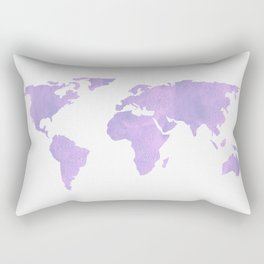 World Map - Ultra Violet Purple Watercolor on White Rectangular Pillow