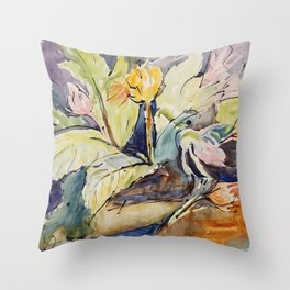 Tropical Jungle Blooms Throw Pillow