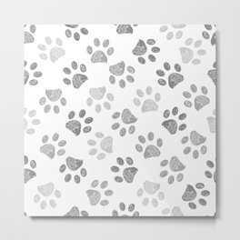 Black and grey paw print pattern Metal Print