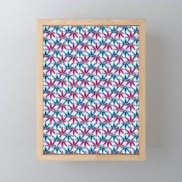 WEED LOVE, FUCHSIA BLUE Cannabis Smoke Marijuana Framed Mini Art Print