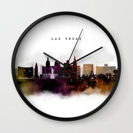 Las Vegas Watercolor Skyline Wall Clock