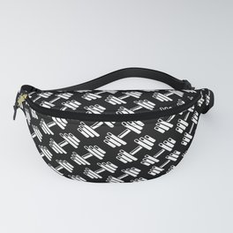 Dumbbellicious inverted / Black and white dumbbell pattern Fanny Pack