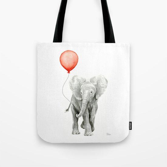 Baby Elephant Watercolor Red Balloon Nursery Decor Tote Bag