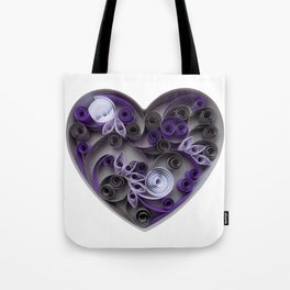 Purple Grey Love Heart Paper Quilled Colorful Heart Wedding Anniversary Gift Tote Bag