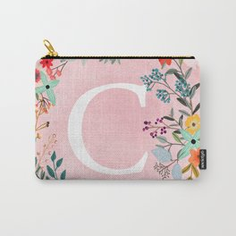Flower Wreath with Personalized Monogram Initial Letter C on Pink Watercolor Paper Texture Artwork Carry-All Pouch