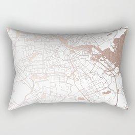 Amsterdam White on Rosegold Street Map Rectangular Pillow