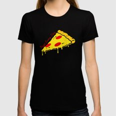 Pizza Every Day MEDIUM Black Womens Fitted Tee
