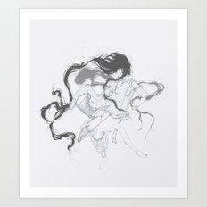 Girls fighting dressed in Marques'Almeida Art Print