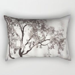 Black and White Tree Branches Photography, Grey Nature Neutral Branch, Gray Mysterious Dark Spooky Rectangular Pillow