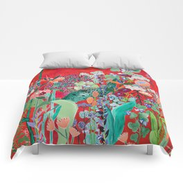 Red floral Jungle Garden Botanical featuring Proteas, Reeds, Eucalyptus, Ferns and Birds of Paradise Comforters