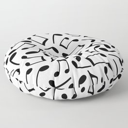 Music Note Pattern White and Black Floor Pillow