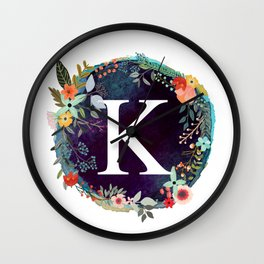 Personalized Monogram Initial Letter K Floral Wreath Artwork Wall Clock
