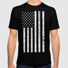 Dirty Vintage Black and White American Flag Mens Fitted Tee Black MEDIUM