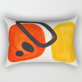 Colorful Mid Century Modern Abstract Fun Shapes Patterns Space Age Orange Yellow Orbit Bubbles Rectangular Pillow