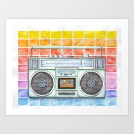 Boombox - Watercolor - Rainbow Background vintage boombox - Stereo - 1980s Art Print
