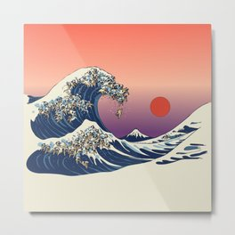 The Great Wave of Pug Metal Print