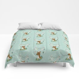 Vintage Inspired Deer with Decorations Comforters