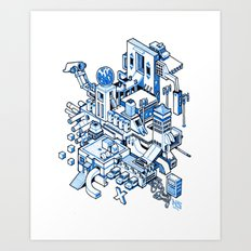 Small City - Blue Art Print