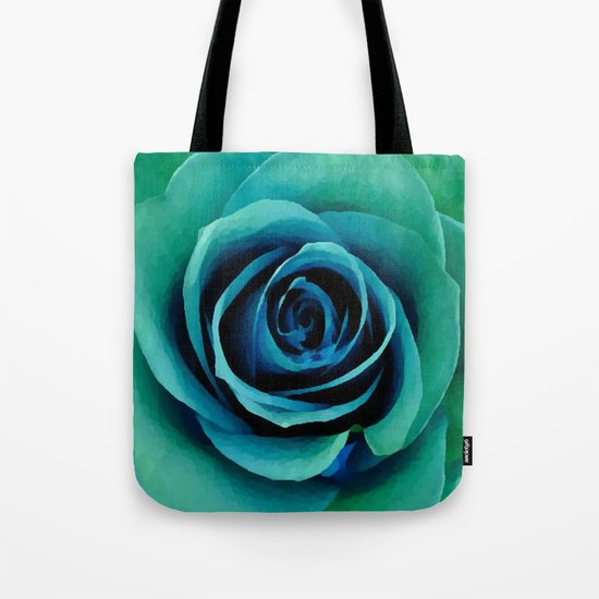 Painterly Rose - Blue- Green - Turquoise Tote Bag