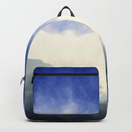 Abstract watercolor navy blue gray ivory ombre Backpack