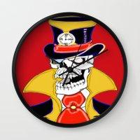 steam punk Wall Clocks featuring Steam Punk Vampire Skull by J&C Creations
