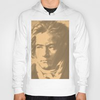 beethoven Hoodies featuring Beethoven Portrait  by Cool Prints