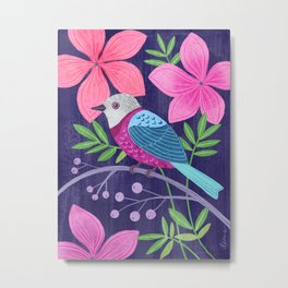 Wild Bird and Wildflowers Metal Print
