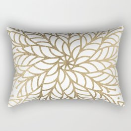 Elegant white faux gold floral trendy mandala Rectangular Pillow