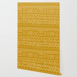 Mud Cloth on Mustard Wallpaper