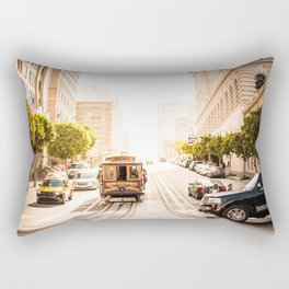 San Francisco Cable Car on Sunny California Street Rectangular Pillow