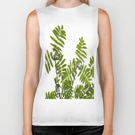 Green Rowan Leaves White Background #decor #society6 #buyart Biker Tank