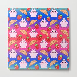 Cute happy funny pink baby bunnies, sweet adorable yummy Kawaii croissants and red ripe summer strawberries cartoon colorful bright pink and blue pattern design Metal Print