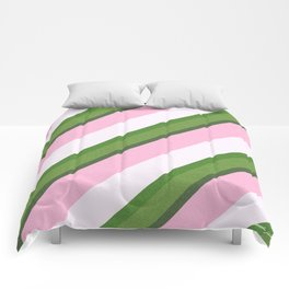 Pink Roses in Anzures 4 Stripes 3D Comforters