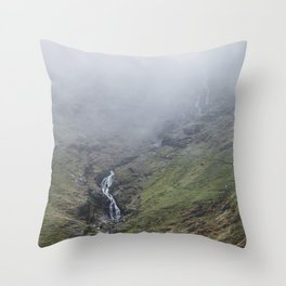 Moss Force waterfall in cloud. Newlands Hause, Cumbria, UK. Throw Pillow