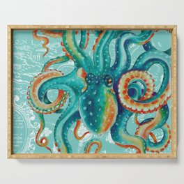 Teal Octopus On Light Teal Vintage Map Serving Tray