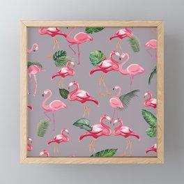 Flamingos Love Pattern 6 Framed Mini Art Print