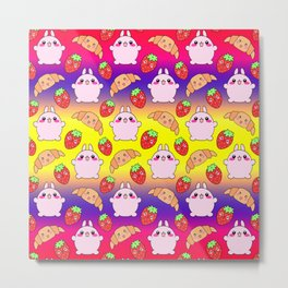 Cute happy funny pink baby bunnies, sweet adorable yummy Kawaii croissants and red ripe summer strawberries cartoon colorful yellow purple red pattern design Metal Print