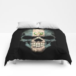 Dark Skull with Flag of Guatemala Comforters