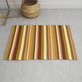 Retro 70s thin stripes brown orange Rug