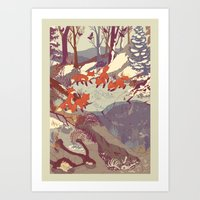 colour Art Prints featuring Fisher Fox by Teagan White