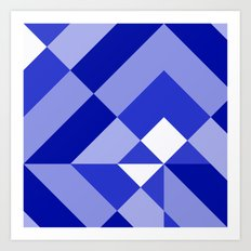 Blue and White Geometric Abstract Art Print