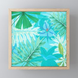 My blue abstract Aloha Tropical Flower Jungle Garden Framed Mini Art Print