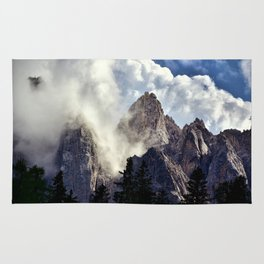Mystical Mountains in Clouds, Landscape Nature Photography Rug