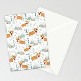 happy corgis climbing in the mountains  Stationery Cards