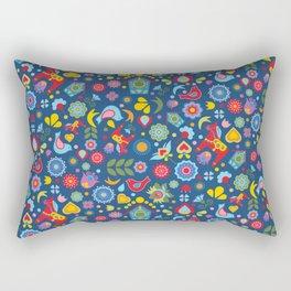 Swedish Folk Art Garden Rectangular Pillow