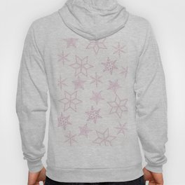 Pink Snowflakes On White Background Hoody