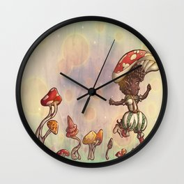 Mushroom Fairy Wall Clock