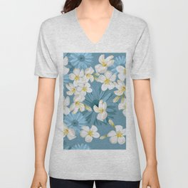 Blue Hawaii - White Plumeria on Blue Unisex V-Neck